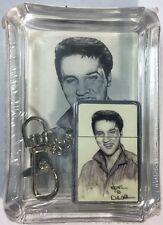 Elvis Presley - Metal Flip Top Victor Oil Lighter Keychain & Glass Ashtray Set