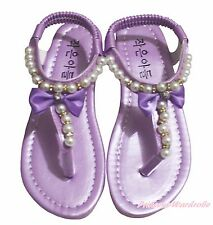 Lavender T Strap Pearl Flat Ankle Sandals Kid Girl School Party Casual Shoes 601