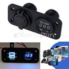 Motorcycle Dual USB Charger Socket LED Cigarette Lighter Voltmeter Adapter 12V