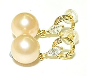 Stunning Mirror Luster Natural Peach Gold 10 -10.5mm Round Edison Pearl Earrings