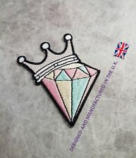 DIAMOND PATCH PINK PASTEL CROWN CRAFT ROYAL DANCE IRON ON PATCHES APPLIQUE