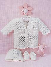 Crochet Pattern -Baby Girls Cardi/bonnet/booties (2 sizes 6 & 12months) PO288