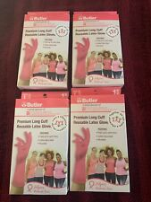 PREMIUM LONG CUFF LATEX RUBBER GLOVES PINK  LOT OF 4  brand new in box