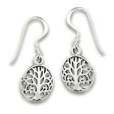 Sterling Silver Oval Tree Of Life Earring
