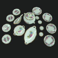 Puppenhaus Puppenstube Porzellan Geschirr Mini Teller Goldrand und Blumenmuster
