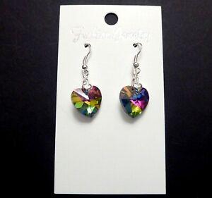 Rainbow Thank You Gift Teacher Key Worker NHS Nurse Crystal Heart Drop Earrings