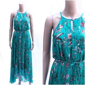 ex Oasis Floral Print Green Pleated Chiffon Halter Self Tie Maxi Dress