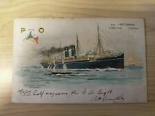 1907 Australian Vintage P and O Cruises S.S. Britannia Ship Postcard