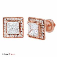 2.4ct Princess Cut Halo Stud Solitaire Earrings Solid 14k Rose Gold Screw Back
