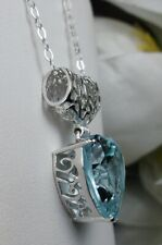 Pendant Necklace (Made to Order) Heart *Aquamarine* Sterling Silver 925 Filigree
