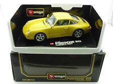 BBURAGO 3060 BURAGO PORSCHE 911 Carrera 1993 GIALLO 1/18 OVP 1601-16-58