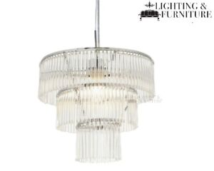 Admiral 3 Tier Crystil Style Glass Ceiling Light Pendant Electric Light Fitting