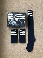 Pack Of 15 PAIRS, MEN'S, navy blue with white hoops on turnover FOOTBALL SOCKS.