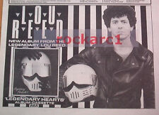 "LOU REED Legendary Hearts 1983 UK Poster size Press ADVERT 12x8"""