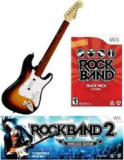 NEW Nintendo Wii Rock Band 2 Wireless Sunburst Guitar & RB Track Pack Vol 2 RARE
