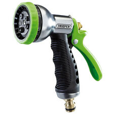 DRAPER Garden Hose Spray Gun - Aluminium 7 Pattern Soft Grip Handle