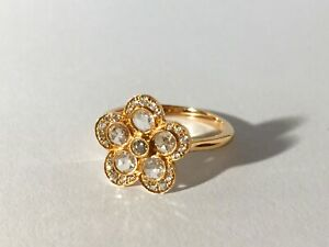 Tiffany & Co. 18K Rose Gold Rose Cut Diamond Enchant Garden Flower Ring Jewelry