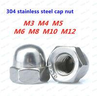 304 Stainless Steel Bright Finish M8-1.25mm 20 PCS Acorn Hex Cap Nuts Locknuts