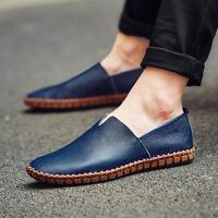 ec78bf491c3 leather Mens Loafers Fashion Handmade Moccasins Soft Leather Blue Slip On  Men s