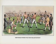 """1978 Vintage """"HEENAN SAYERS CHAMPIONSHIP"""" BOXING CURRIER & IVES COLOR Lithograph"""