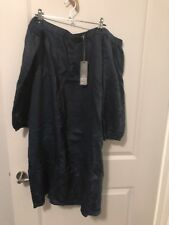 Sussan Denim Dress Size 18 Embroidered 3/4 Sleeve Off The Shoulder