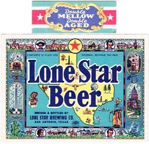 1940s IRTP TEXAS San Antonio LONE STAR BEER 12oz Label Set Tavern Trove