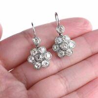 1.00 Ct Diamond Round Cut Drop/Dangle Cluster Earrings 14K White Gold Finish