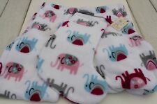 NW Zoe & Bella 2pc Set Elephant plush fleece sleep pants sz LG #2