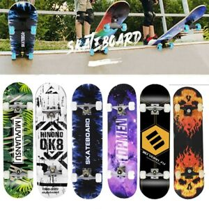 "31"" x 8"" Skateboard Adult Kids Skateboard,Beginners Double Kick Maple Gift UK"