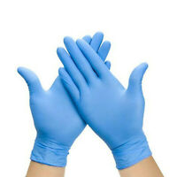 100 Disposable Blue Nitrile Powder/Latex Free Rubber Gloves - LARGE