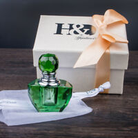 Vintage Mini Crystal Perfume Bottle Green Cut Art Glass Bottle Refillable Bottle