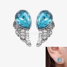 Cute Style Blue Jewlery Angels Wing with Rhinestone Women Studded Earrings #Cu3