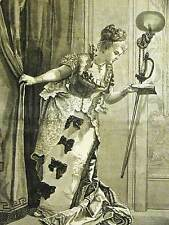 Theater Actress REHERSING before the CURTAIN RISES 1875 Antique Print Matted