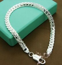 "8"" 6mm Silver Plated Wheat Chain Bracelet Men's Women's Boyfriend Birthday Gift"