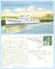 Fort Trumbull Coast Guard Base & Ship New London Connecticut 1940 Postcard