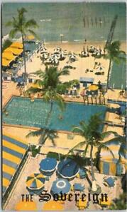 Miami Beach, Florida Postcard THE SOVEREIGN HOTEL Aerial Pool View LINEN / 1954
