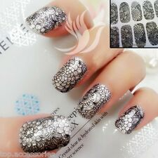 3D Sparkly Black LACE Nail Art Wrap Full Cover Sticker #06050 Free P&P