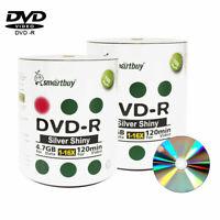 200 Smartbuy 16X DVD-R 4.7GB Shiny Silver Non Printable Blank Recording Disc