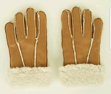 TAN SHEARLING GLOVES small - medium SUEDETTE winter NEW LOOK brown