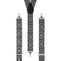 Skull Crossbones Grey Clip On Trouser Braces Elastic Suspenders Handmade UK