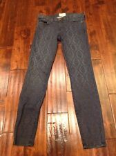 """Current/Elliott """"The Ankle Skinny"""" Dark Wash Floral Overlay Ankle Jeans, Size 25"""