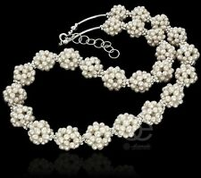 BEAUTIFUL SILVER NECKLACE WHITE NATURAL PEARLS STERLING SILVER 925