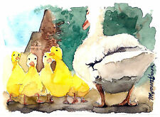 "Art print 2.5""x3.5""- Spring outing, Ducks, Bird art, Small gift idea for her"