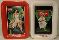 """Set of 2 Vintage 1995 Coca Cola Trays measuring 6 5/8"""" x 4 5/8"""" great condition"""