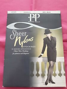 New Black Sheer Nylon Stockings By Pretty Polly Size 2= Shoe Size 6-8