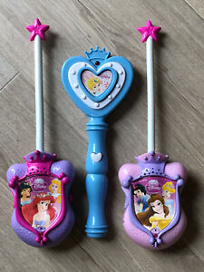Genuine Official Disney Princess Walkie Talkies Plus Musical Wand - All Working