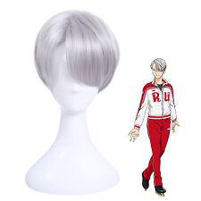 Yūri!!! Yuri On Ice Victor Nikiforov Unisex Kurz Silver Cosplay Wig Perücken