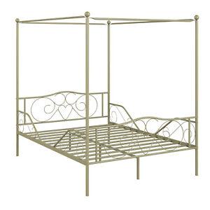 Full Size Metal Canopy Bed Frame 4 Poster Steel Slats Headboard Footboard Gold