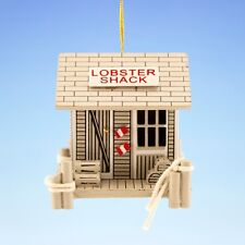 MINI WOODEN LOBSTER SHACK w/ TRAPS & PILINGS COASTAL NAUTICAL CHRISTMAS ORNAMENT