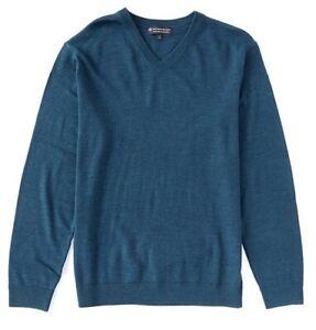Hart Shaffner Marx Extra Fine Merino Wool V-Neck LS Men Sweater Teal Blue 3XB